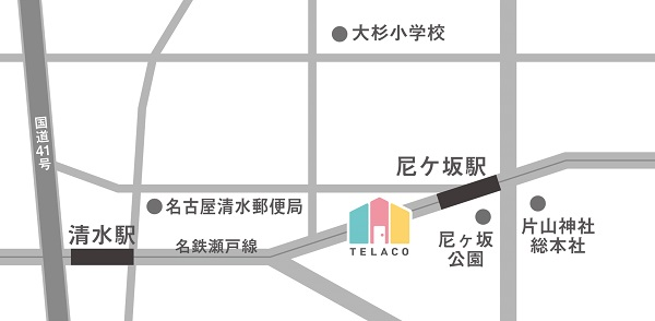 TELACO白壁尼ケ坂校 地図